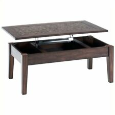 Bowery Hill Lift Top Coffee Table with Tile Inlay in Baroque Brown