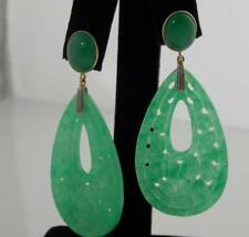 """14KT YELLOW GOLD HAND-CARVED GENUINE FINE GREEN JADE DANGLE EARRINGS L-2 1/4"""""""