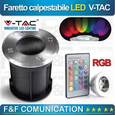 FARO FARETTO LED GIARDINO RGB CALPESTABILE VERDE ROSSO GIALLO BLU 3W V-TAC VETRO