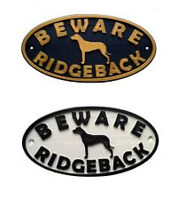Rhodesian Ridgeback & Motif Beware Dog Sign - House Garden Door Gate Plaques
