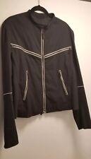 Jil Sander Men's Cotton Full Zip Black Leather Trim Motorcycle Bomber Jacket 50