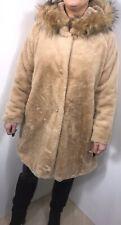 Faux Fur Coat Camel Faux Fur Hood Luxurious Soft Lined Plus Size 16 18 20 NEW