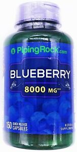 8000mg Blueberry Fruit 75:1 Extract 150 Capsules Antioxidant Support Supplement