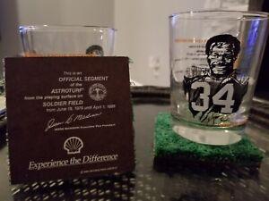 Walter Payton Drinking Glass + Soldier Field Astro-turf Coaster Set Of 3