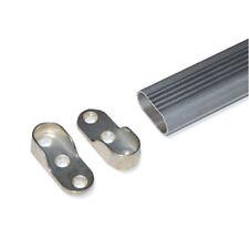 Oval Wardrobe Hanging Rail Rod End Socket Bracket Support Silver Pair