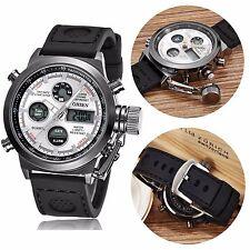 OHSEN White Mens Army Analog Digital Quartz Nylon Green Dial Sport Wristwatches