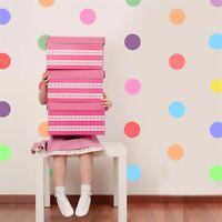 PASTEL RAINBOW SPOTS POLKA DOT MULTICOLOUR Wall Art Sticker Kit decal nursery