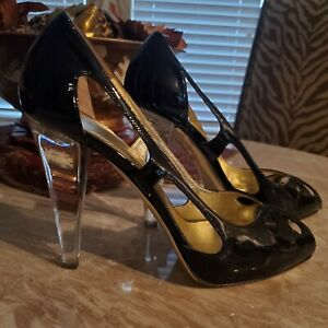 VALENTINO BLACK PATENT LEATHER CUT OUT PEEP TOE LUCITE HEEL PUMPS SIZE 10