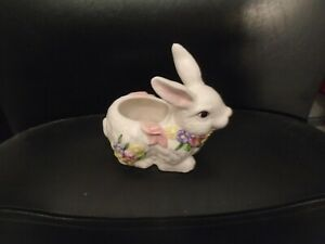 CERAMIC WHITE BUNNY WITH FLOWERS SMALL PLANTER