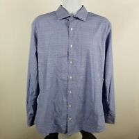 Nordstrom Tech-Smart Trim Fit Blue Check Plaid L/S Dress Button Shirt 17 34/35