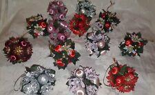Vintage 14 x Silk Poinsettia Silk Christmas Tree Hanging Baubles