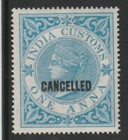 India 3131 - 1860 QV CUSTOMS  opt CANCELLED very fine mint