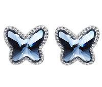 Luxus Schmetterling Ohrringe mit Swarovski® Kristallen 925 Sterling Silber Neu