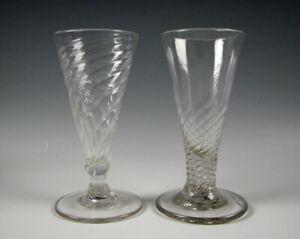 2 Antique 18th Century Dwarf Ale Pattern Molded Flint Glass Stems