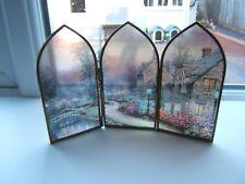 "A Triptych brass 3 section  screen 5.5"" glass village scene Thomas Kinkade"