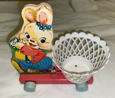 New ListingVintage #301 Wooden Fisher Price Bunny with Basket Pull Toy No String Clean