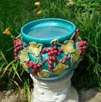 LARGE Italian Majolica Planter Ceramic Jardinière Sculpted Grapes Vines Leaves