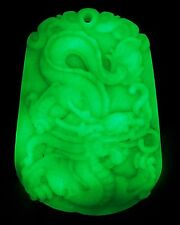 """Carving Dragon of mercy """"Glow In The Dark"""" xinjiang natural Wealth-God green"""