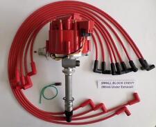 CORVETTE TACH DRIVE HEI Distributor & RED SPARK PLUG WIRES under Exhaust manifol