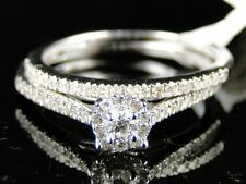 10K WHITE GOLD LADIES CLUSTER BRIDAL ENGAGEMENT WEDDING BAND DIAMOND RING SET