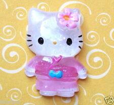 "US SELLER - 10 x (1 1/8"") Resin Kitty Flatback Beads/Hello w/Flower/Kimono SB423"
