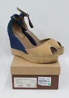 SOLE Ladies Susan.01 Cicely Navy Beige Suede Wedge Heel Sandals Size UK6.5 EU40