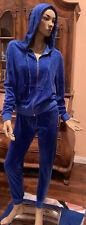New Iconic Vintage Original Juicy Couture Velour Hoodie Jogger Pant Blue Lapis S