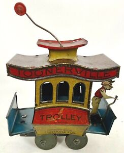 Old Antique 1922 TOONERVILLE TROLLEY Fontaine Fox WIND UP TOY w/ Driver