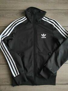 Ladies Adidas Classic Three Stripes Zip Up Black Polyester Track Top Size 8