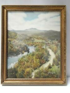 SAWYER SGND VINTAGE ANTIQUE MAINE NEW ENGLAND HAND TINTED PHOTOGRAPH ORIG FRAME