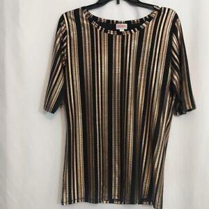 LuLaRoe Womens T-Shirt Metallic Gold Black Stripe Short Sleeve Boat Neck L