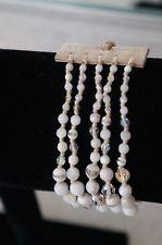 NEW Chan Luu 5 Strand White MOP Semi Precious Stone Crystal Cuff Wrap Bracelet