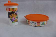 Tupperware Dora The Explorer Lunch Set  Wonders bowl & Sippy Bell Tumbler New