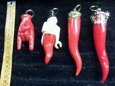 4 corni ferro cavallo gobbo rosso  porta fortuna  horn charms corno hourse