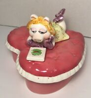Vintage Sigma Miss Piggy Laying a Heart Bed Looking at Picture of Kermit Box