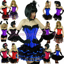 Burlesque Corset Tutu Skirt Fancy Dress Costume Plus Size Outfit Moulin Rouge Red Long Red Ribbons 4xl UK 18 - 20