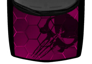 Punisher Skull Hexagon Mosaic Pink Truck Hood Wrap Vinyl Car Graphic Decal