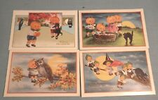 LOT OF 4 NICE VINTAGE WHITNEY HALLOWEEN POST CARDS