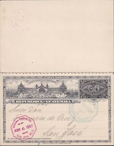 1897 GUATEMALA COMPL REPLY PS CARD to SAN JOSE ARRIVAL superb