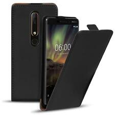 Flip Case Nokia 6 2018 Hülle Pu Leder Klapphülle Handy Tasche Cover Schwarz
