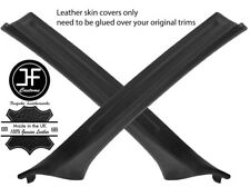 BLACK REAL LEATHER 2X A PILLAR COVERS FOR BMW 3 SERIES E46 COUPE 98-05 STYLE 2
