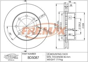 Disc Brake Rotor-RWD Front Fremax BD5087