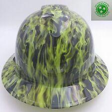 Hard Hat Full Brim custom hydro dipped , Osha , Wicked Fire Hi Vis Lime Wow