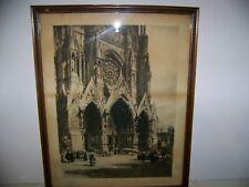 """ANTIQUE ALEX HAIG ETCHING 1899 """"RHEIMS CATHEDRAL"""" THE CHURCHMAN CO."""