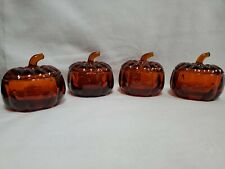 Dark Amber Glass Pumpkins Candy Dishes Vintage Set of 4 With Lids and Bowl Base