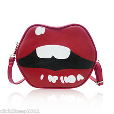 Faux Leather Novelty Red Kiss Mouth Lips Shaped Cross Body Bag Shoulder Handbag