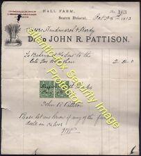 1913 SEATON DELAVAL Hall Farm Illustrated Bill head