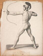 Archer guerrier homme nu Grande lithographie 19e siècle LE MIRE Roubaix