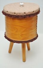 Vtg Tripod Sewing Box-Dufeck Cheese Round Storage Box-Taper Leg Sewing Basket