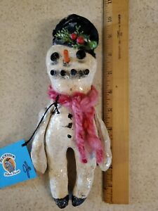 Handcrafted Primitive Frosty Snowman Blackhorn Sheep Fiber Decorative Doll